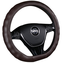 KKYSYELVA D Shape Auto Car Steering Wheel Cover Leather 38CM Steering-Wheel covers Interior accessories kkysyelva 7 colors d shape steering wheel black auto car steering wheel cover leather 38cm wheel cover interior accessories