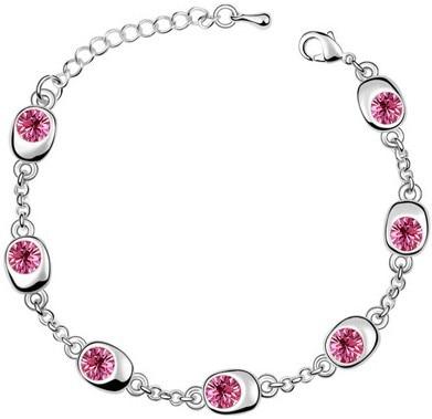 Подарок на день рождения, высокое качество, 7 бусин, Звездные глаза, браслеты с кристаллами, модные ювелирные изделия, 12 цветов, милые Подвески для женщин - Окраска металла: silver rose