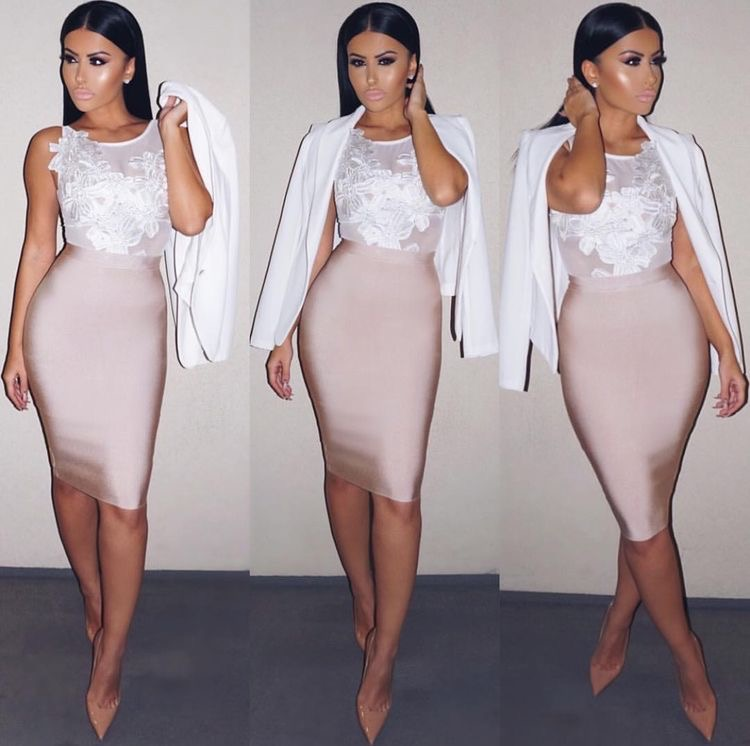 11 Colors Solid Nude Sexy Summer Bodycon Party Bandage Skirts Women 2020 White Black Beige Red Pencil Skirts 60cm