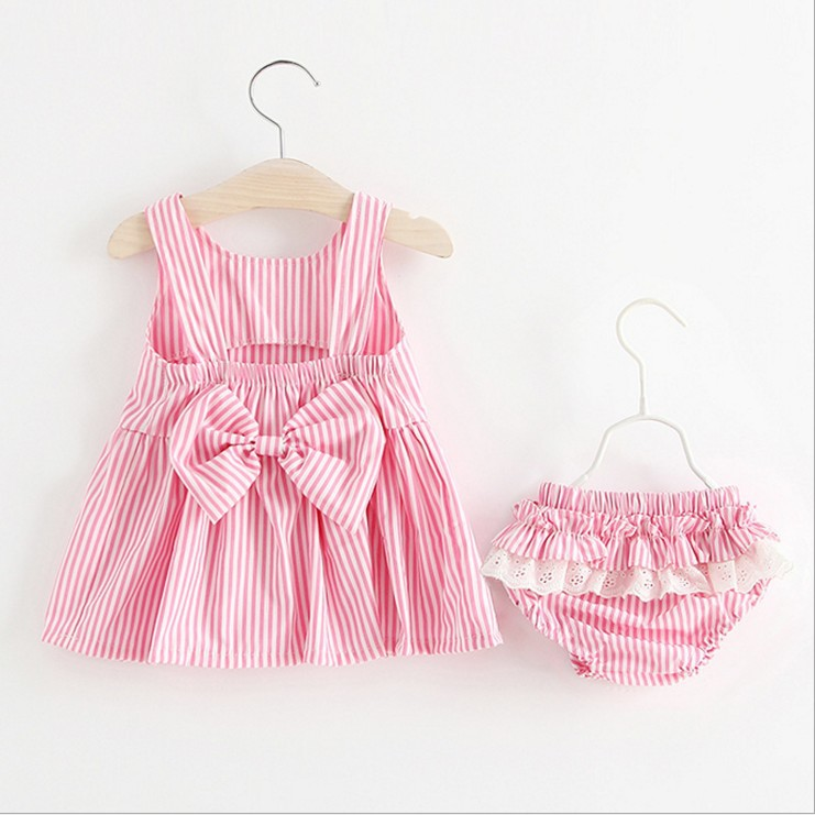 Summer Fashion stripes Newborn Baby Girl Clothes bow Top + Shorts 2PCS Outfits newborn Toddler Kids Clothing Set