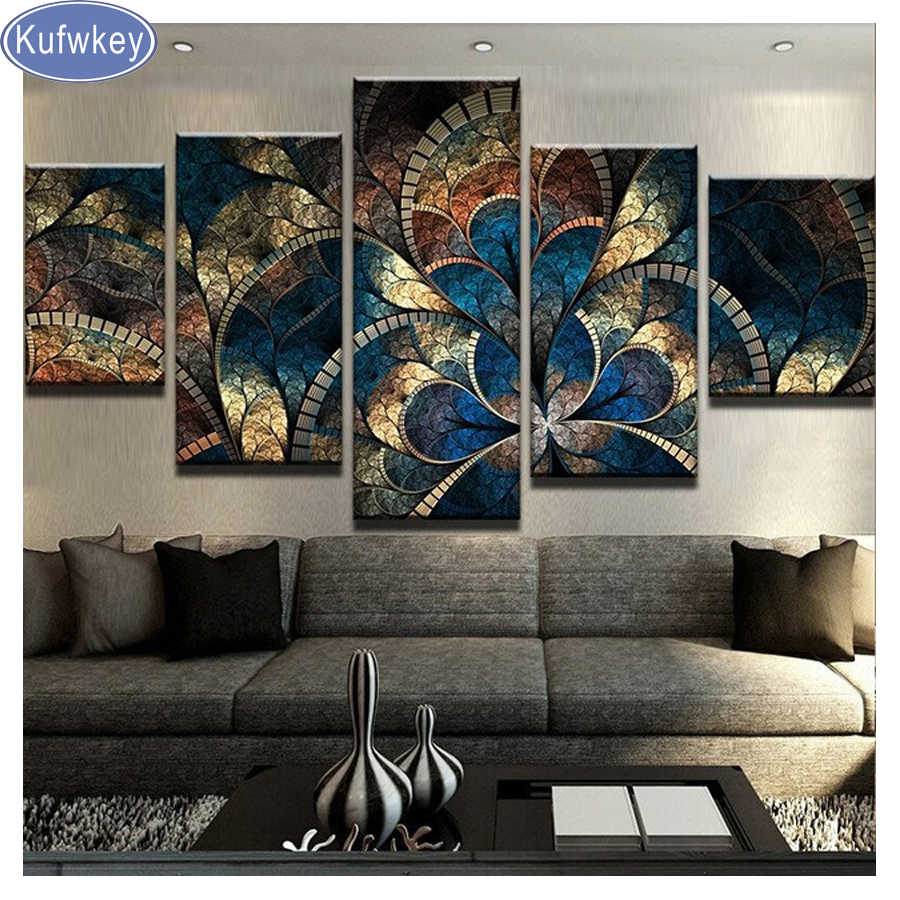 Kufwkey diy diamond painting 5 Panel Fantasy Flowers For Living Room Home Decor 5d Diamond Embroidery Abstract Cross Stitch kits
