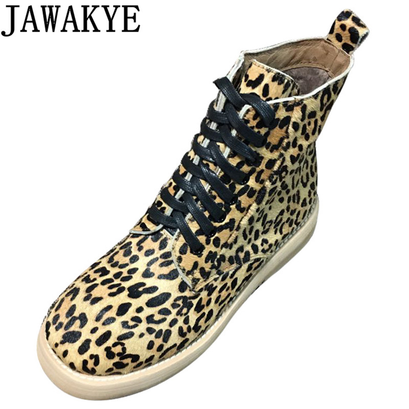 2018 Punk style casual shoes women horsehair Ankle Boots for women high top Leopard pattern flat knight martin short botas fashion tassels ornament leopard pattern flat shoes loafers shoes black leopard pair size 38