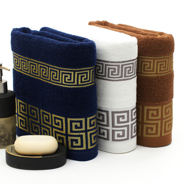 free shipping luxury 100 cotton bath towel brand serviette de bain adulte embroidery large. Black Bedroom Furniture Sets. Home Design Ideas