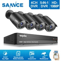 SANNCE RU Clearance 2MP 4CH Security CCTV System 4PCS 1080P Outdoor Waeatherproof Camera Home Video Surveillance Kit Camera Kit