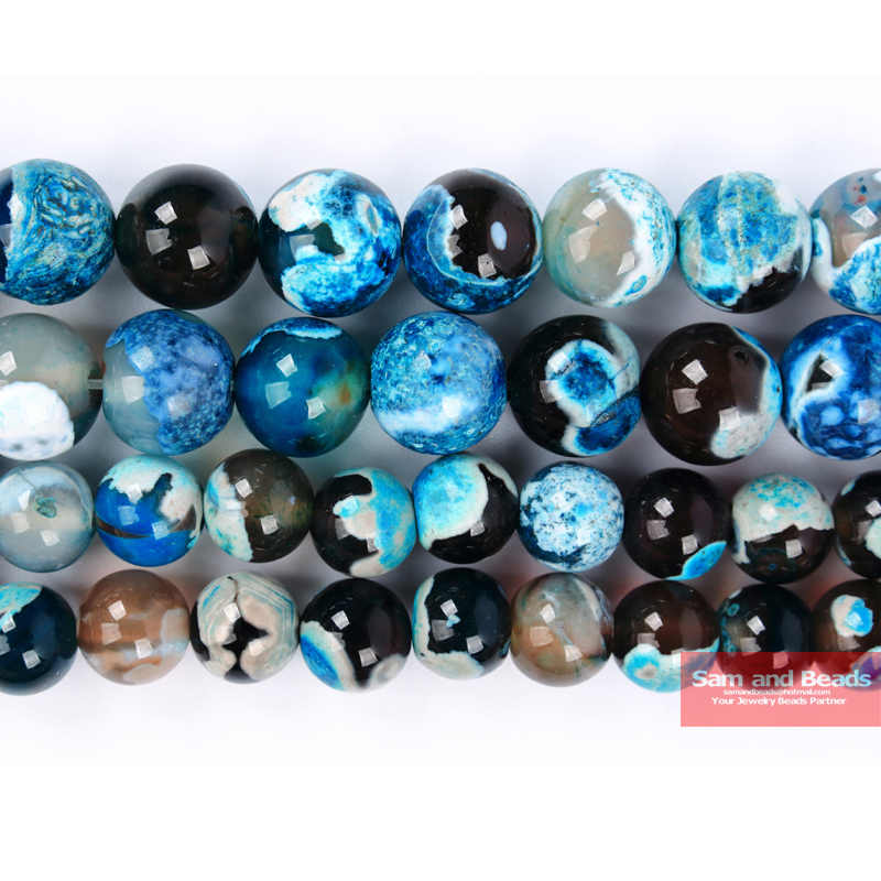 "Factory Price Natural Stone Blue Fire Agates Beads 16""/Strand 4 6 8 10 12MM Pick Size  BFA01"