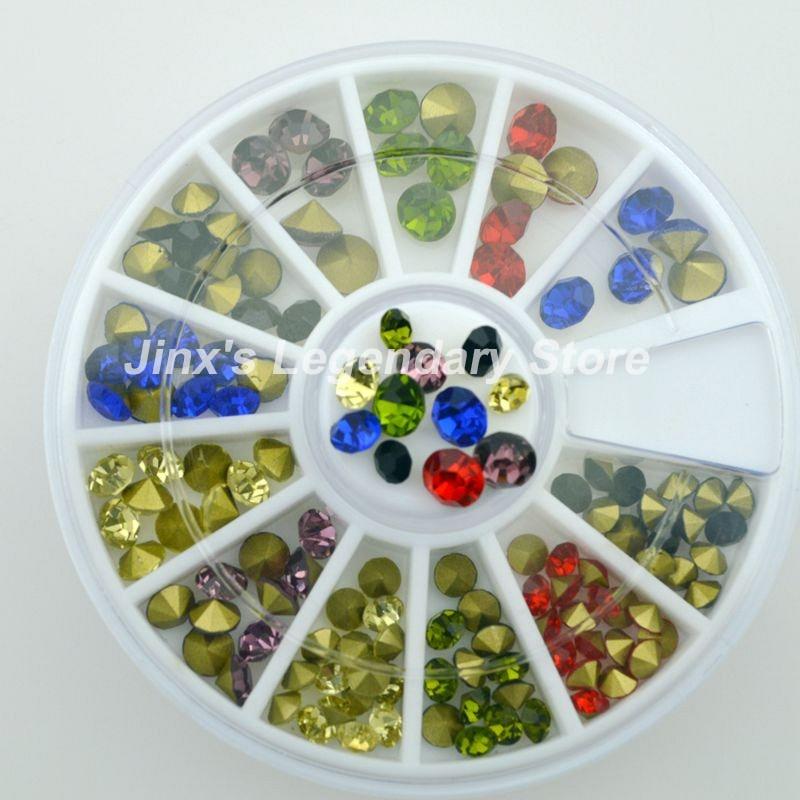 Hot Sale Fashion 12 colour 3D Glitter metal rhinestones nail art Decoration DIY Wheel JSL7021