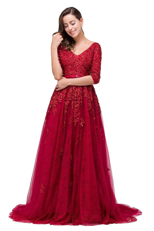 71805317f0b6 Burgundy Red Lace Tulle Long Modest Prom Dresses 2019 3 4 Sleeves V Neck  Beaded Sparkly Formal Evening Celebrity Dresses Elegant