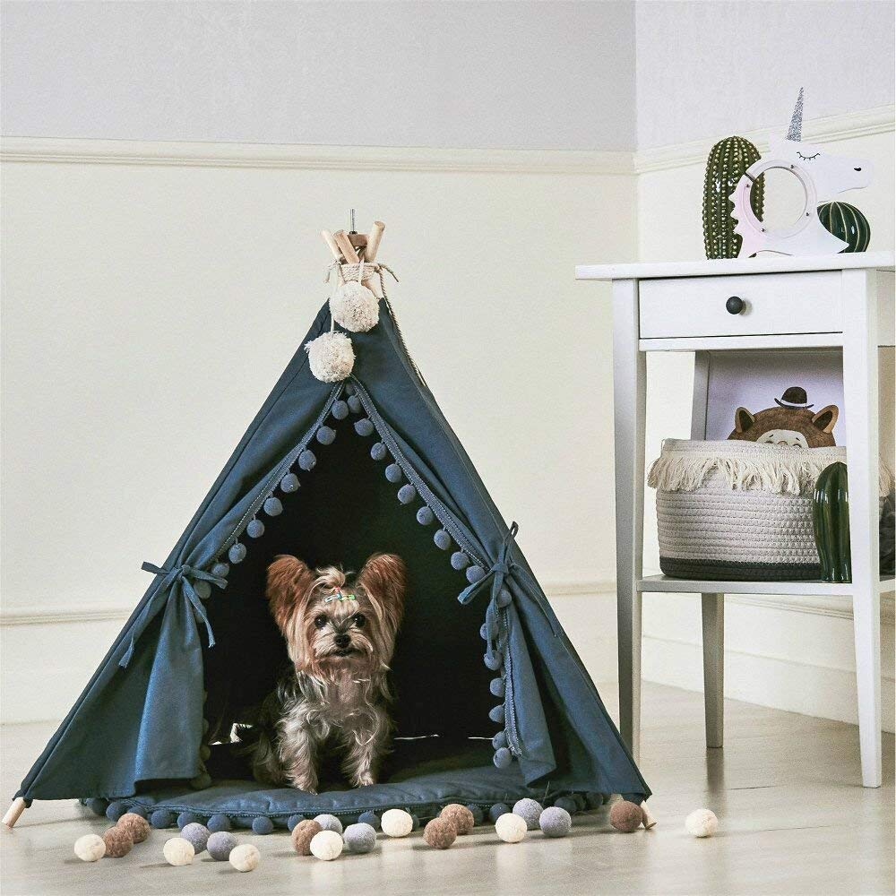 Grey Canvas Pom Pom Pet Teepee with Mat flower decorated kids headband with pom pom