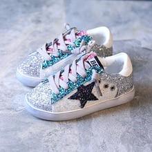 Kids Toddler Baby Glitter Shoe Girl Star White Sneaker e Kid Child Causal  Trainer shining Sequin 24b9841b5f54