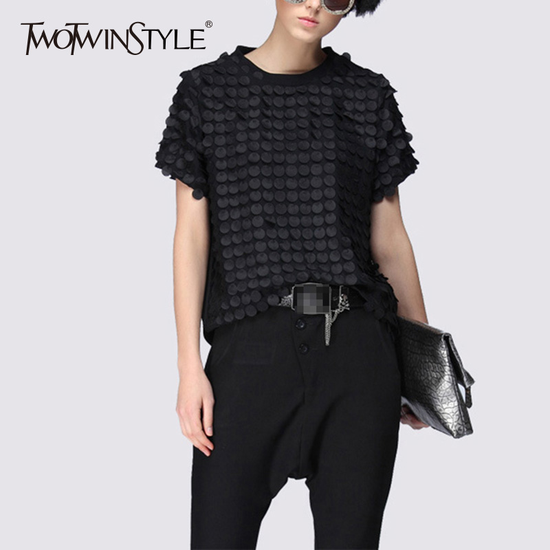 TWOTWINSTYLE Ruffles Black T Shirt Ladies Patchwork O Neck Short Sleeve Oversize T Shirts 2020 Summer Casual Tops Clothing