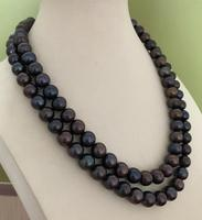 free shipping double strands 9 10mm round black red green pearl necklace 18