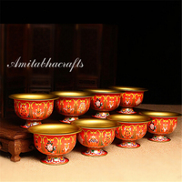 Tibetan buddha Alloy Metal Eight Auspicious Symols Buddhism Colored Pictures Crafts Sacrifice Bowl holy water cup 8pc/lot