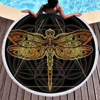Bohemian Style Mandala Beach Towel with Tassels Gold Butterfly Line Art Soft Beach Towels for Women Travel Ornament Yoga Mat