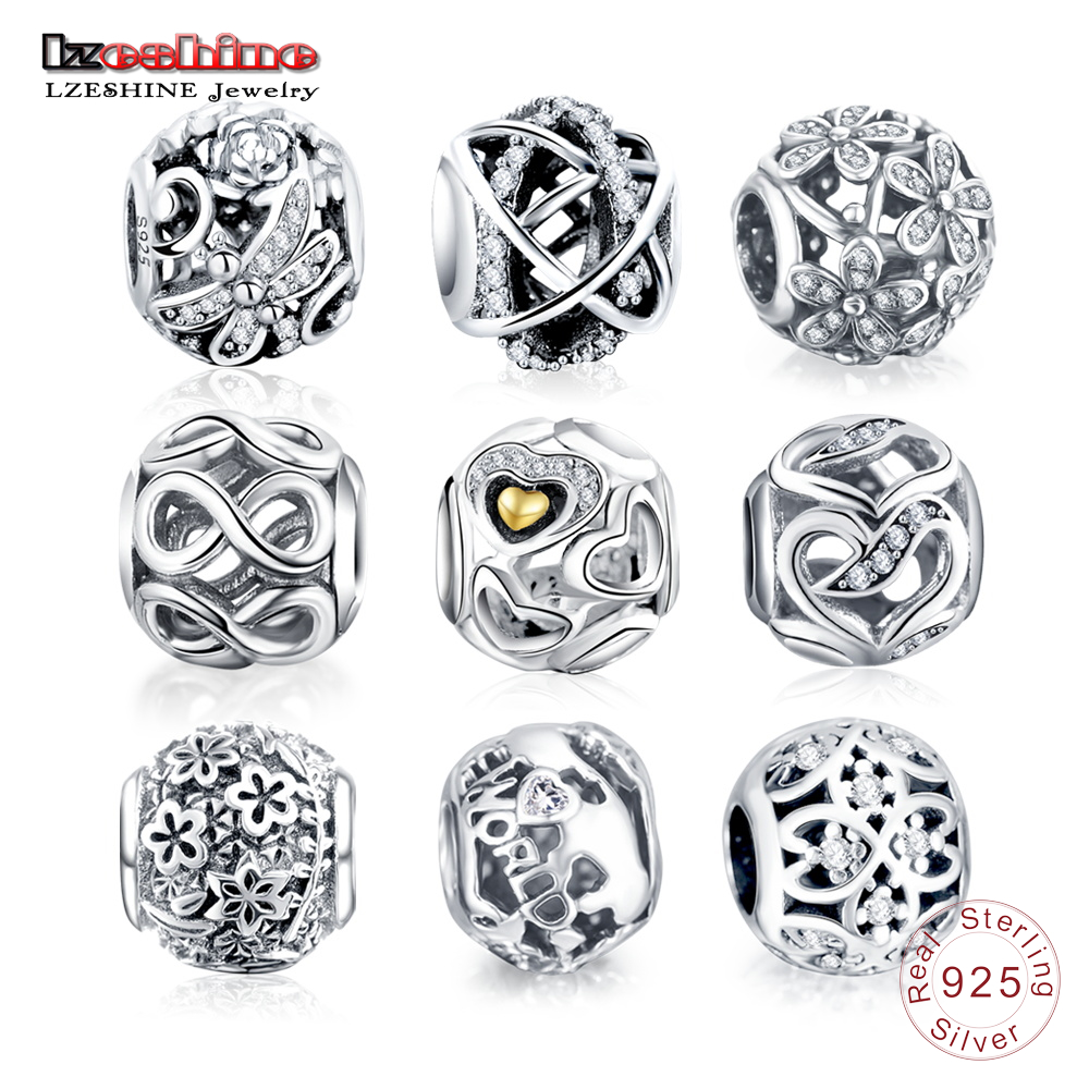 LZESHINE 100% 925 Sterling Silver Vintage Fashine Charms Beads Fit Original Pandora Charm Bracelet Jewelry Accessories
