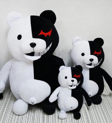 35cm Plush Toy Accompany Japan Cartoon Super 2 Monokuma Black & White Bear Soft Stuffed Animal Dolls Christmas Gift