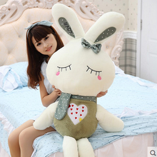 big bow squinting blackish green rabbit toy huge rabbit doll gift about 150cm