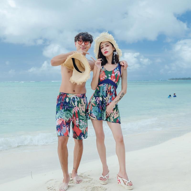 Couples de maillots de bain femmes Sexy Bikini robe avec shorts Homme Shorts de Plage Maillots de Bain Vêtements De Plage 2019 date de amant