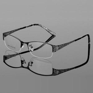Image 2 - Reven Jate Mezza Senza Orlo Degli Occhiali Telaio Prescrizione Ottica Del Semi Rim Occhiali Montatura per Occhiali per Le Donne Delle Occhiali Femminile