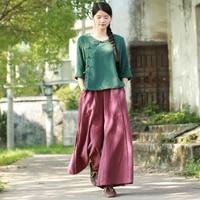 New A Line Wide Leg Pants Linen Women Long Trousers Elastic Waist Vintage Flare Dress Pants