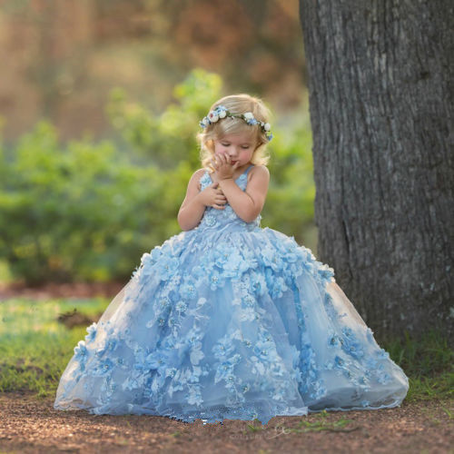 Elegant Flower Girl Dresses Blue Pearls Party Pageant Princess Ball Gowns New