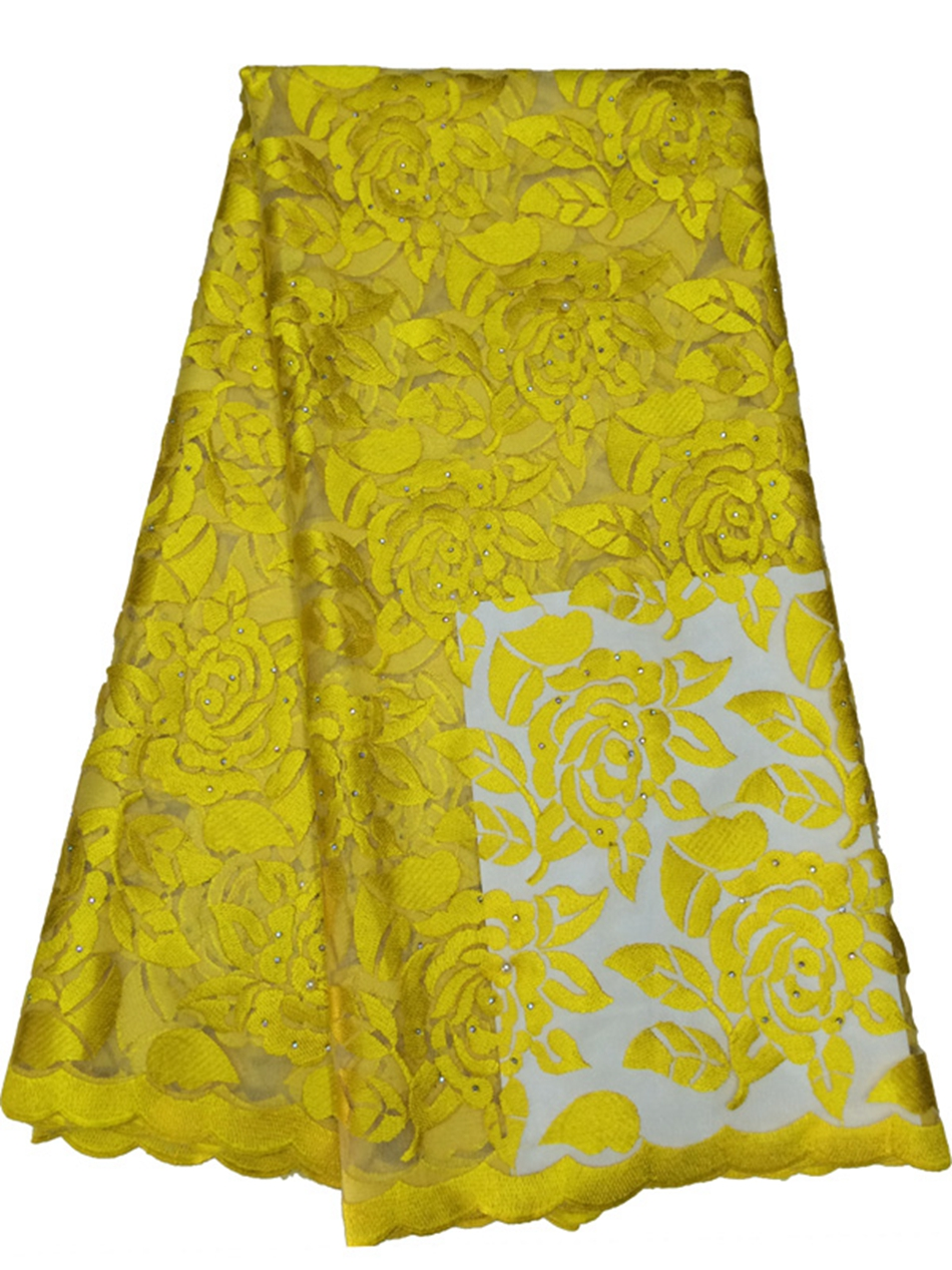 New Embroidered chemical  guipure African lace fabric with rhinestone yellow low cheap price french net lace for wedding dressNew Embroidered chemical  guipure African lace fabric with rhinestone yellow low cheap price french net lace for wedding dress