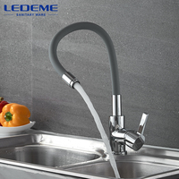 LEDEME Brass Kitchen Faucets Hot And Cold Water Thermostatic Faucets Chrome Basin Sink Square Tap Mixers