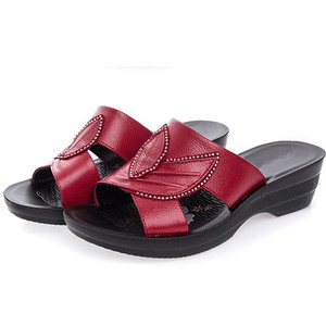 Image 5 - GKTINOO Women Slippers Shoes Genuine Leather Casual Slides Women Summer Shoes Retro Solid Mother Shoes Wedges Flip Flops