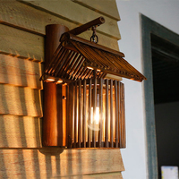 Chinese sytle Hand made bamboo light retro wall lamp for aisle corridor restaurant cafe bar hotel porch light sconce bra