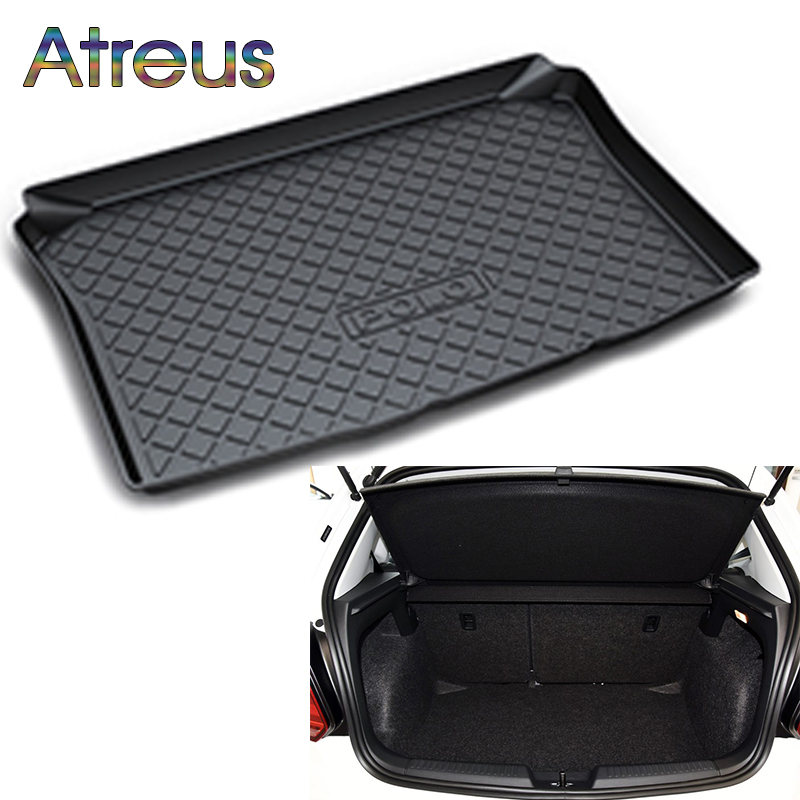 Atreus For 2004-2017 2018 VW Polo Volkswagen Polo Accessories Hatchback Rear Boot Liner Trunk Cargo Mat Tray Floor Carpet Pad for volkswagen vw polo hatchback 2004 2005 2006 2007 2008 2009 2010 2011 2017 2018 car trunk mat tray floor carpet pad protector