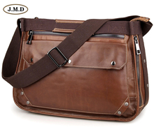 J.M.D Men's Fashion Genuine Cow Leather Brown Color Business Briefcases Laptop Handbag Shoulder Bag Messenger Bag 7323B