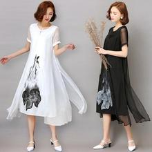 Fashion2017 New Spring Summer White Black Ink Print Women Long Dress Retro Short Sleeve Cotton Linen Designs Casual Dresses Slim