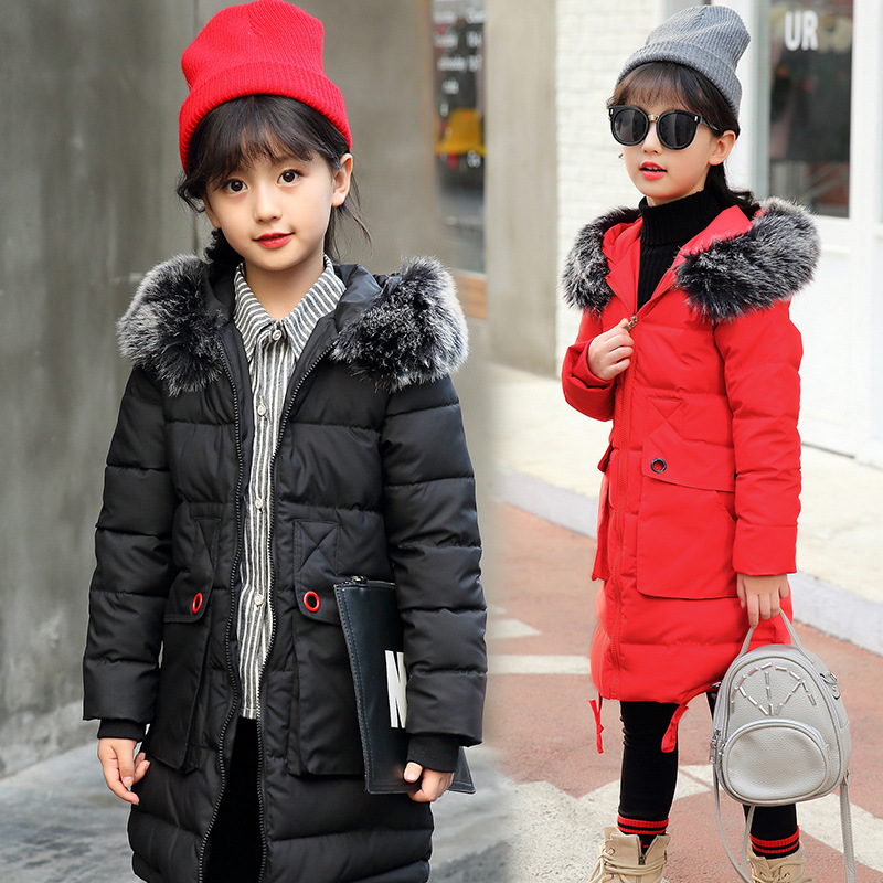 Girls winter coat new cotton baby girl clothes 2017 new fashion padded jacket and long sections out clothes for children new arrival free shipping winter fashion cotton padded jacket pant with velvet kids baby clothes 2pc set girls children coat set