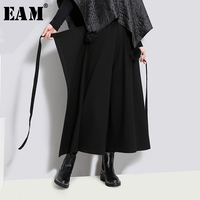 [EAM] 2019 New Spring High Waist Solid Color Black Loose Wide Leg Bandage Pants Women Trousers Fashion Tide JD40301