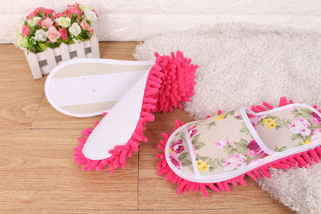 Aleafalling Women Slipper Indoor Flower Soft Lazy Mopping Girl's Shoes Lady's Housework Fleece Open Toe Lazy Slippers T89 1
