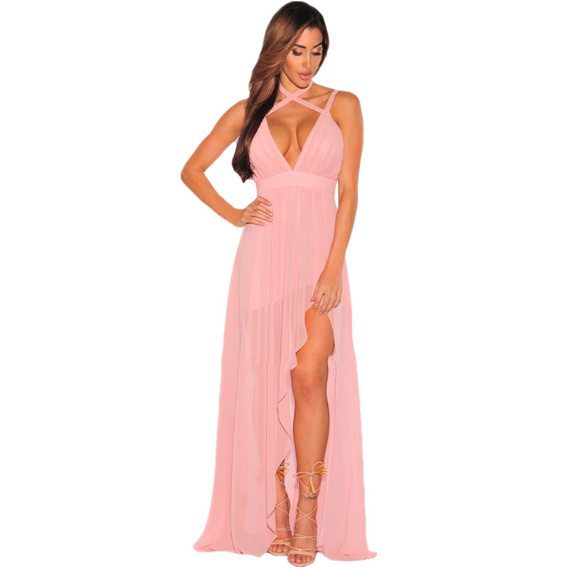 Cfanny 2016 Women Summer Dress Pink Flared Slit Crisscross ...