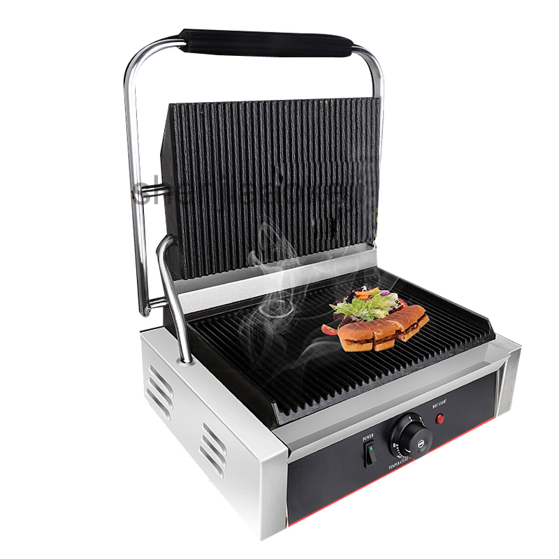 Acier inoxydable électrique sandwich maker Commercial antiadhésif gril plaque de presse rôti steak italien sandwichs 220-240 v