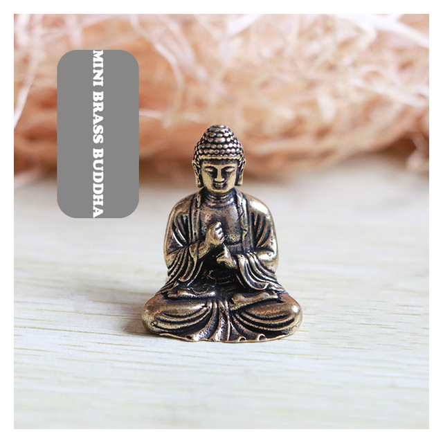 Mini Portable Vintage Brass Buddha Statue Pocket Sitting Buddha Figure Sculpture Home Office Desk Decorative Ornament Toy Gift 1