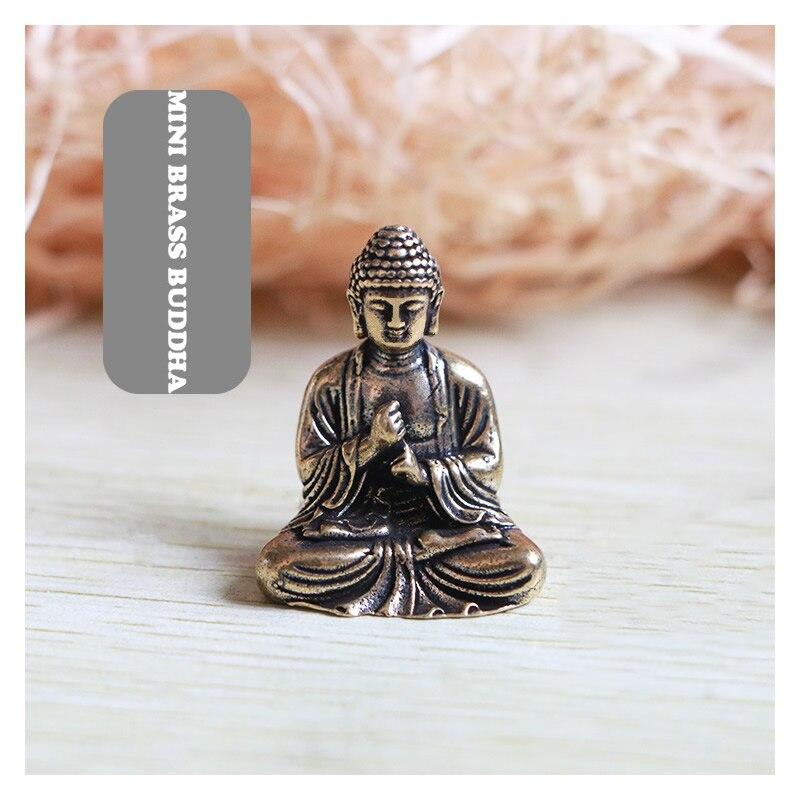 Mini Portable Vintage Brass Buddha Statue Pocket Sitting Buddha Figure Sculpture Home Office Desk Decorative Ornament Toy Gift