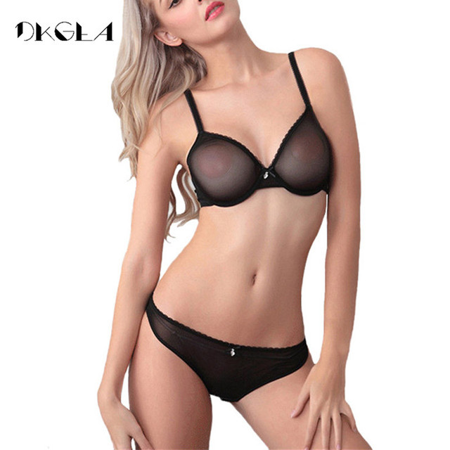 Black Sexy Bra Set Transparent Brassiere Gauze See Through Bra Underwear Sets For Women Strap Erotic Lingerie Hollow Out