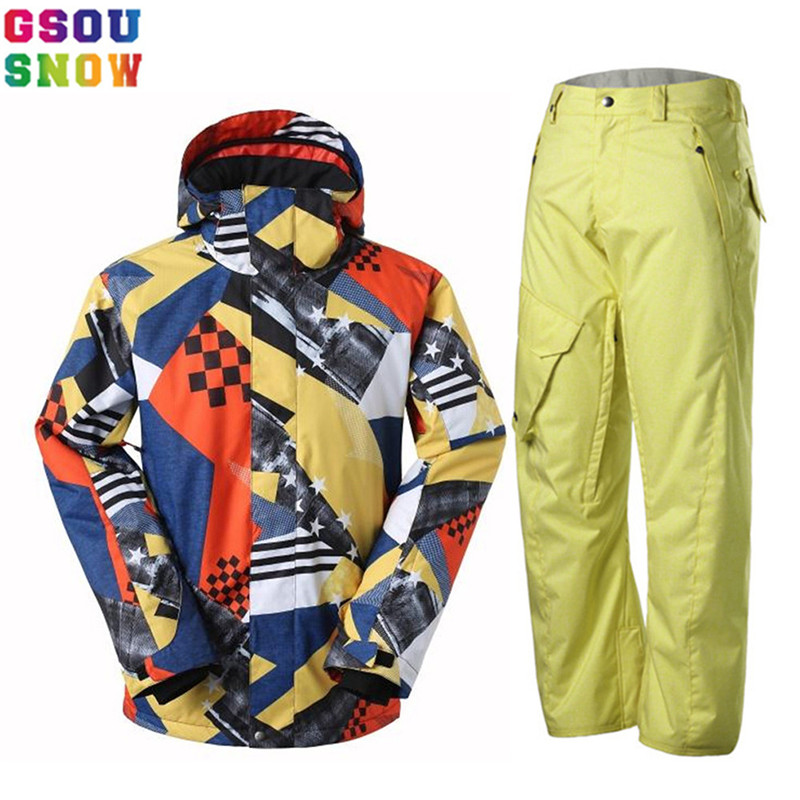 GSOU SNOW Brand Ski Suit Men Ski Jacket Pants Waterproof Snowboarding Sets Mountain Skiing Suits Winter Outdoor Sport Snow Coat gsou snow brand ski suit men ski jacket pants snowboard sets waterproof mountain skiing suit winter male outdoor sport clothing