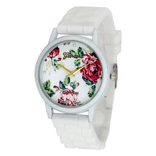 Durable 2015 New Arrival Women Flower Silicone Analog Quartz Watches Women Watch 11.24