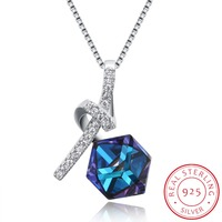 INALIS 925 Sterling Silver Blue Cube Crystal Knot Pendant Necklace For Women Authentic Original Jewelry Collares
