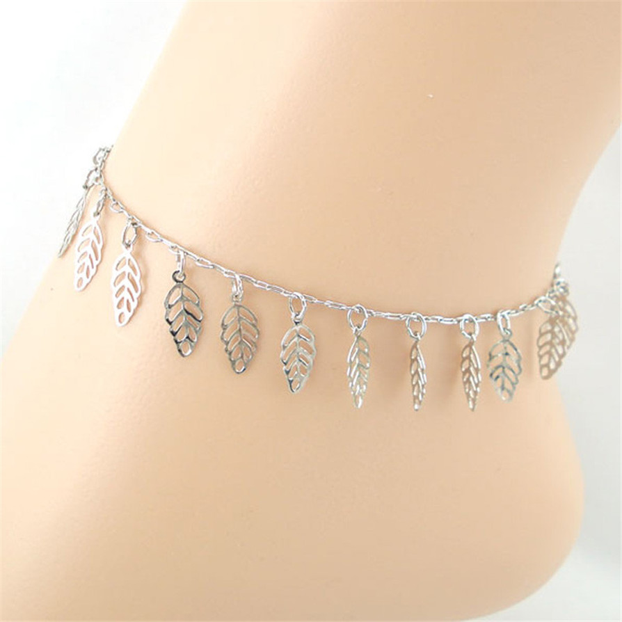 1 color Anklets 2018 Hot Hollow Leaves Women Ankle Bracelet Barefoot Sandal Beach Foot Jewelry JC16