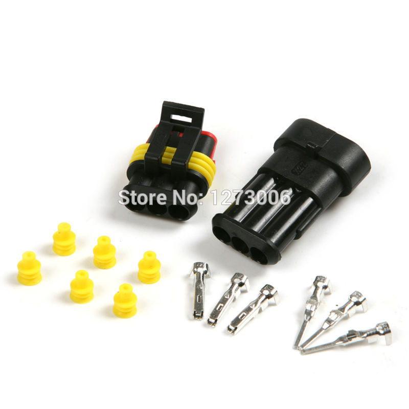 New Car Part 1x 3P Waterproof Car Electrical Wire Connector Plug Kit Auto Set For Car Motorcyle Dust-proof Safety Car-styling