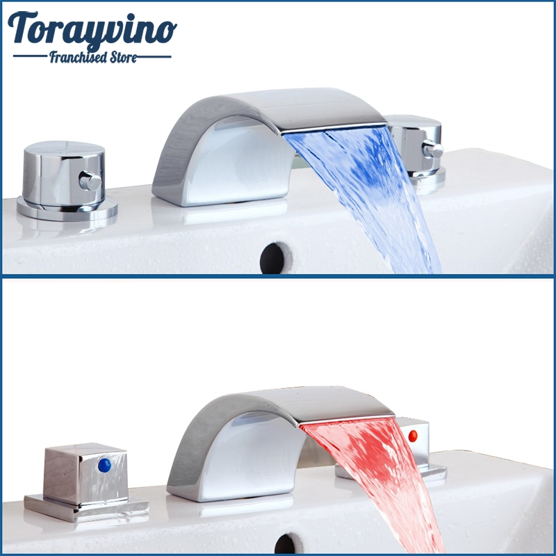 Torayvino  Bathtub Faucet 3 PCS Bathroom LED Basin Sink Faucet Waterfall Water Flow Lavatory Faucet Tap Chrome Finished Mixer