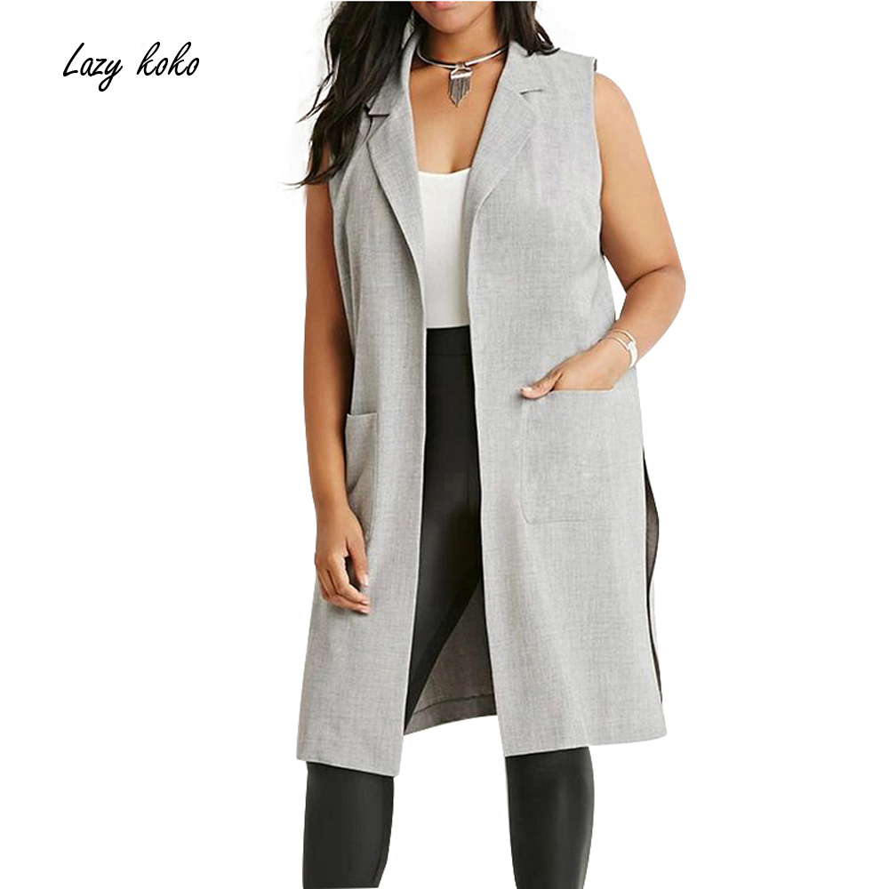 Lazy KoKo Plus Size New Fashion Women Clothing Open Stitch Casual Turn down Collar Sleeveless Big