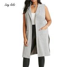 Lazy KoKo Plus Size New Fashion Women Clothing Open Stitch Casual Turn-down Collar Sleeveless Big Size Coat 3XL 4XL 5XL 6XL