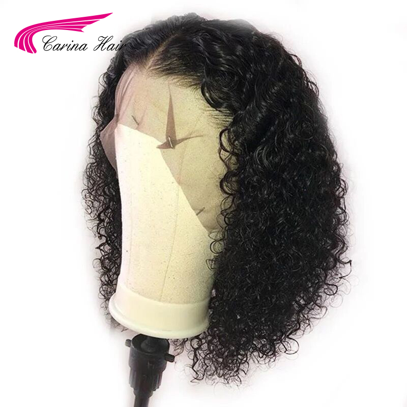 Carina Short Curly Brazilian 13X3 Lace Front Human Hair Wigs Natural Color Remy Pre-Plucked With Baby Hair Lace Front Wig