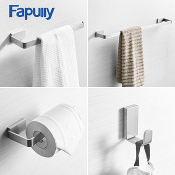 Fapully Euro Paper Holder Towel Ring Robe Hook Brushed Nickel Stainless Steel Bathroom Accessories Bath Hardware Sets G209-4N