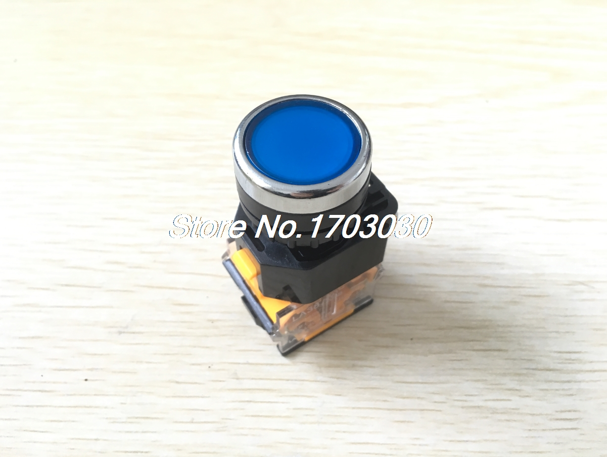 AC 380V 10A 22mm Threaded 1NO 1NC DPST Blue Momentary Push Button Switch